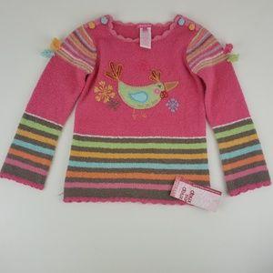 deux par deux girls bird embroidered sweater sz 5